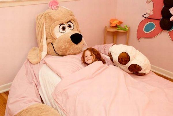 lit original pour fille, lit doudou,lit pour fille rose,lit en forme de chien,lit design pour enfant,lit original pour enfant
