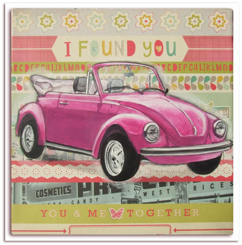 très joli tableau pour chambre de fille,voiture rétro ancienne rose,coccinelle rose, idéal pour chambre garçon, décoration murale,voiture rose enfant,idée cadeau anniversaire