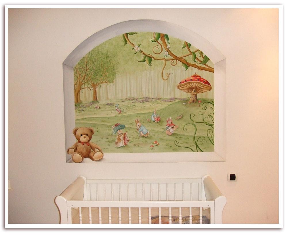 décors peint en trompe l`oeil,décoration murale pour enfant,décoration chambre bébé,idée cadeau naissance originale,décoration de chambre personnalisée,fresque pour enfant,jeannot lapin,pierre lapin