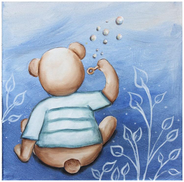 tableau nounours chambre bébé, tableau veilleuse bébé, tableau peint main, décoration murale chambre bébé