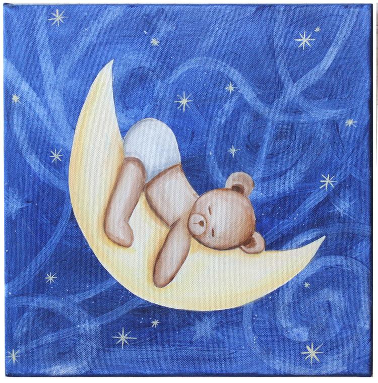 tableau nounours sur lune,tableau peint main pour chambre bébé, tableau brille la nuit
