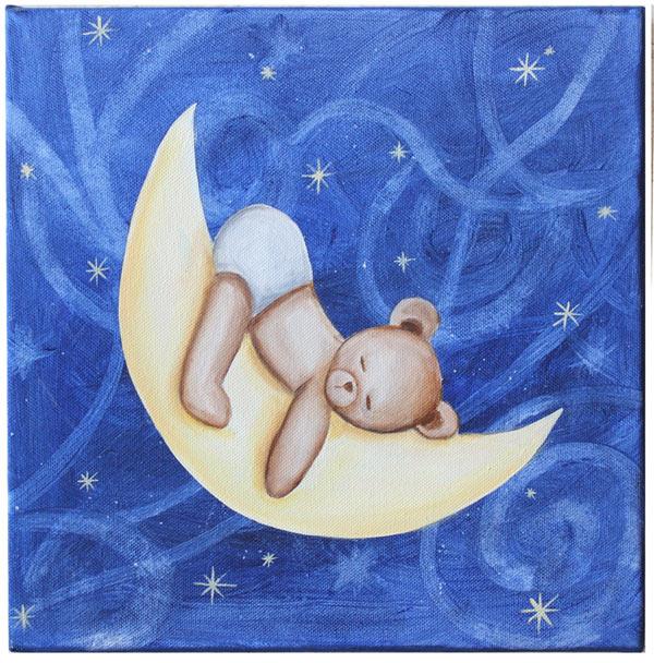 tableau nounours endormi sur la lune pour chambre de bébé