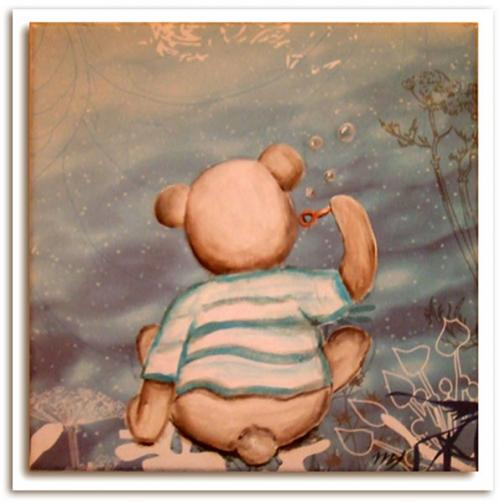 Tableau nounours, avec bulles de savon, couleurs tendre idéal pour deco chambre bébé