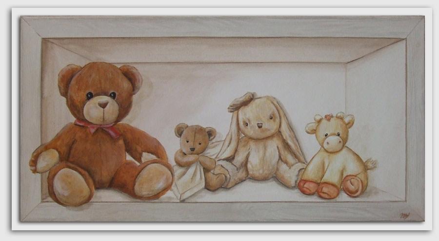 tableau pour chambre de bébé,tableau trompe l`oeil,tableau avec nounours,décoration mural pour bébé