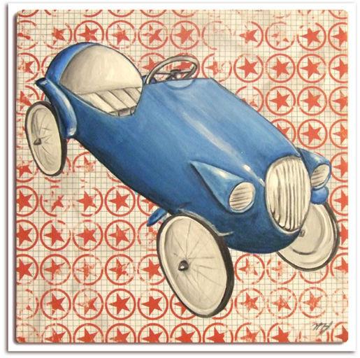 très joli tableau pour chambre enfants,tableau voiture rétro ancienne bleu, idéal pour chambre garçon, décoration murale,voiture bleu enfant,idée cadeau anniversaire